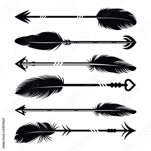 Hand drawn feather arrow silhouette collection Fotomurales