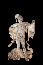 Ancient Statue Of Hero Jason In Greek Mythology. He Is The Grandson Of The Messenger God Hermes And Husbend Of Medea. Jason Also Owns The Golden Fleece.