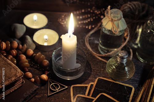 Occulture concept. Attributes for a fortune-telling session. Wallpaper Mural