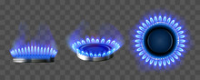 Gas Burner With Blue Flame. Gl...