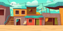 Ghetto Street With Poor Dirty Houses. Vector Cartoon Illustration Of Slum, Neighborhood With Old Broken Buildings, Crowded Dilapidated Shacks. Poverty Concept. Empty Shantytown