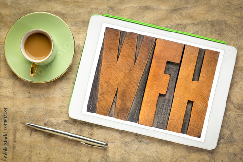 WFH (work from home) acronym in wood type Canvas Print