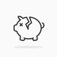 Broken Piggy Bank Icon In Line...
