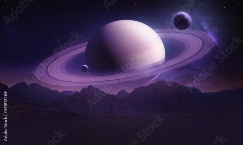 Fotografie, Obraz Sci-fi landscape with mountains and Saturn planet
