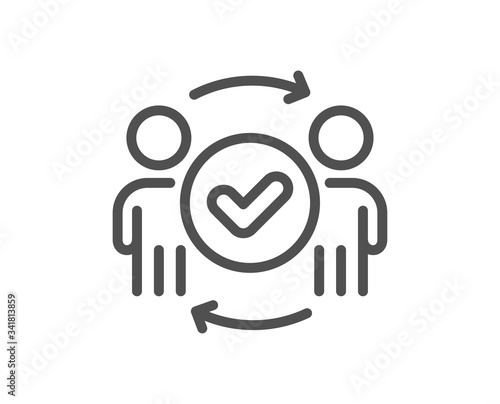 Photo Approved teamwork line icon