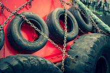 Old Car Tires On Board A Ship....
