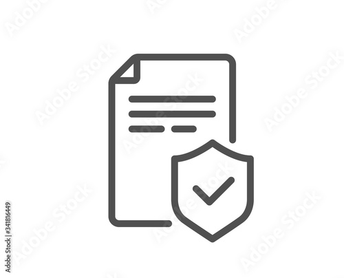 Insurance policy line icon. Risk coverage document sign. Policyholder symbol. Quality design element. Editable stroke. Linear style insurance policy icon. Vector