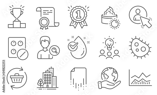 Photo Set of Business icons, such as Refresh cart, Bacteria