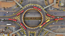 Overhead View Of Roundabout In City