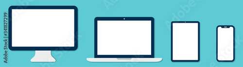 Obraz Computer Monitor Laptop Smartphone Tablet . Device set. Vector - fototapety do salonu