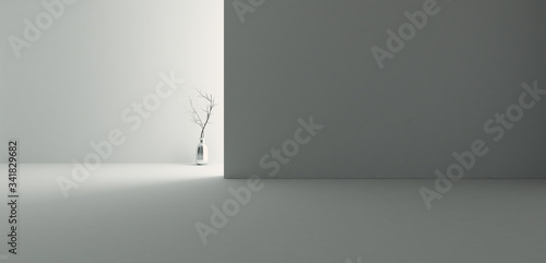 Photo backlight empty room with wall and floor realistic 3D rendering