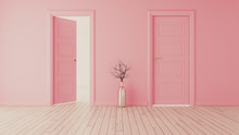 Pink Wall With Pink Opened Door And Closed Door Realistic 3D Rendering
