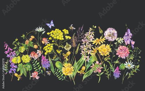 Leinwandbilder - Watercolor summer meadow flowers, wildflowers greeting card.