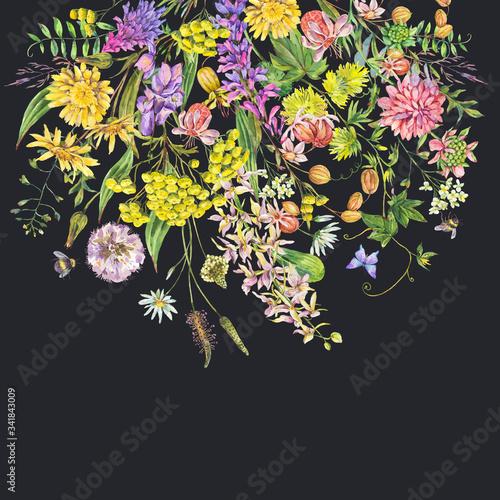 Leinwandbilder - Vintage watercolor summer meadow colorful wildflowers greeting card.