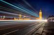 Big Ben and Westminster bridge at night, Big Ben and The Westminster Bridge at sunset The icon of London, UK