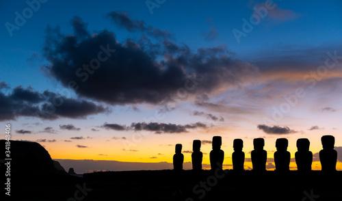 Ahu Tongariki at sunrise, Rapa Nui (Easter Island), Chile. Canvas Print