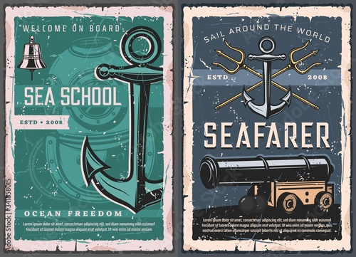 Nautical marine vintage retro vector posters Canvas Print
