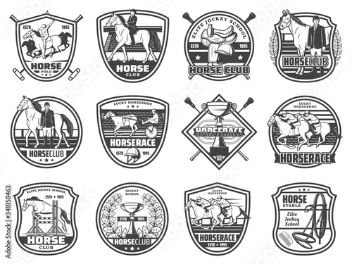 Equestrian sport, horse races and polo club, vector badges and emblems Wallpaper Mural