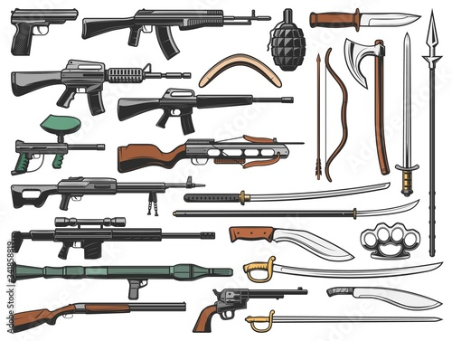 Weapon vector icons, military ammunition bullet gun, automatic shotgun, grenade and bomb launcher Canvas-taulu