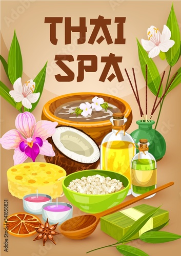 Thai spa salon, massage and body care wellness bathing, vector poster. Thailand oriental spa essential oils, aromatherapy candles and herbal therapy treatments, coconut, bamboo and palm leaf soap