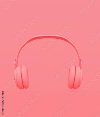 Headphones on pastel color background,minimal style conceptual background,3d ren Wallpaper Mural