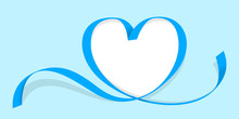 Ribbon Heart Shape Blue Isolated On  Blue Pastel, Ribbon Line Blue Heart-shaped, Heart Shape Ribbon Stripes Blue, Copy Space, Border Tape Curl Heart Shaped For Decoration Greeting Valentine's Day