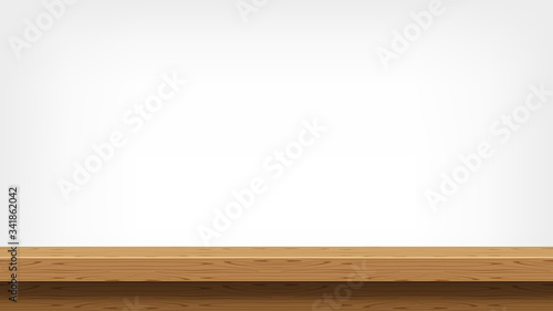 Fotomural wood plank empty front view for background and copy space, blank table top woode