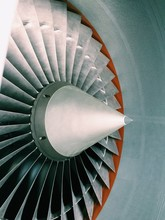 Detail Shot Of Airplane Jet Engine