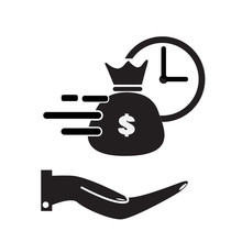 Quick And Easy Loan Icon On Wh...