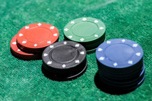 High Angle View Of Poker Chips On Table