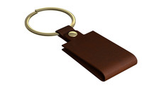 3d Rendering Of House Key In An Old Leather Keychain Brown Color