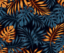 Pattern Drawing With Gold And Black Tropical Leaves On A Dark Background. Exotic Botanical Background Design For Cosmetics, Spa, Textile, Hawaiian Style Shirt. Wallpaper Or Fabric Pattern.