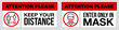 canvas print picture - set of stickers for public institutions calling for prevention of coronavirus: keep distance 1 meter, wear a mask on face, stay at home. Prevention Coronavirus Covid 19 pandemic quarantine banner set
