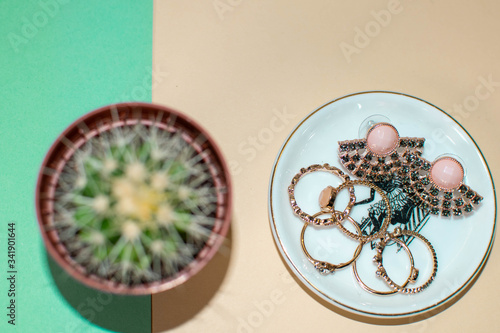 Obraz Top view of jewelry isolated on a green and cream background. Jewelry in a ceramic bowl - fototapety do salonu