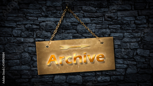 Street Sign to Archive Wallpaper Mural