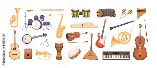 Fotografia Colorful collection of various musical instruments isolated on white background