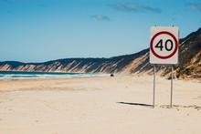 Speed Limit Sign At Beach Agai...