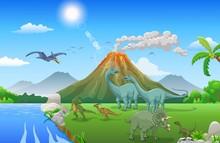 Cute Cartoon Dinosaur In The Jungle