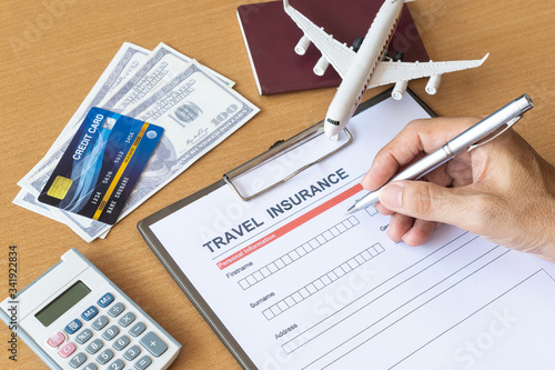 Photo Travel  insurance form with model and policy document