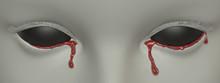 Black Eyes. Bloody Tears. 3D Rendering. Horror Art Concept.