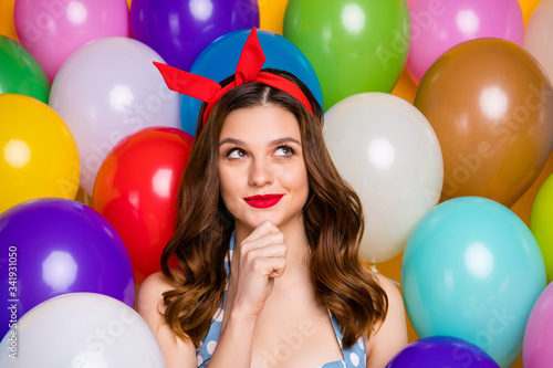 Close up photo inspired redhair girl think thoughts decide what festive occasion Poster Mural XXL