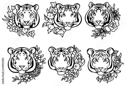 Vászonkép Set of tigers with flower wreaths