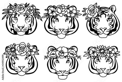 Set of tigers in flower wreaths Tapéta, Fotótapéta