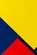 Abstract colored paper texture background. Minimal geometric shapes and lines in blue navy, red and yellow colours