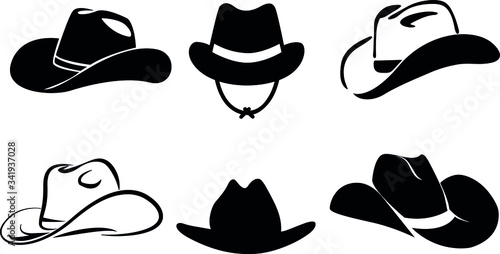Photo cowboy hat silhouette . vector illustration.