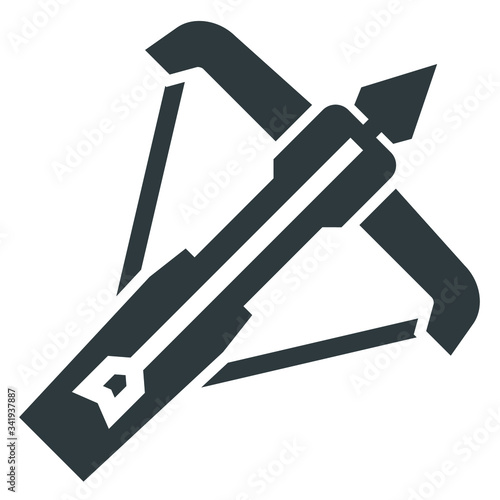 crossbow black icon on white background Poster Mural XXL
