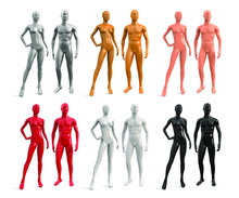 Male And Female Plastic Mannequin. White, Black, Red, Gold, Silver, Beige Color. Set Of Vector 3d Realistic Human Mannequins Isolated On White Background.