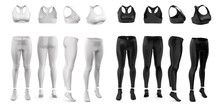Women's Sportswear For Running, Fitness, Yoga. Set Of Black And White. Front, Back, Side (3\4) View. Mockup Clothes For Design, Logo, Branding. 3d Realistic Illustration Isolated On White Background.