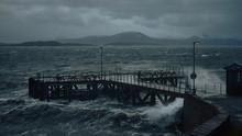 Storm Batters Harbour In Scotland