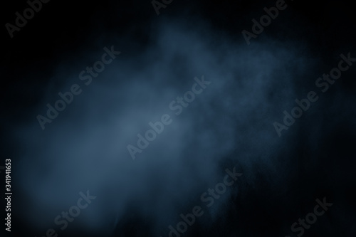 Fototapety, obrazy: Dark blue clouds of smoke vapor isolated on black background. Gas explodes, whirls in space. abstraction, classic blue, trendy color, color 2020